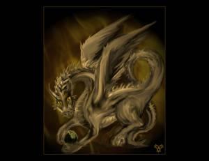Spirit Of Golden Fire Dragon By Book Of Light